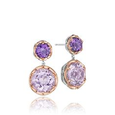 A flirty feminine duo of bold lilac amethyst and crystalline rose amethyst from the Blushing Rose collection.