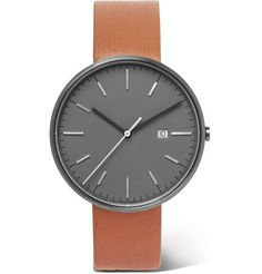 Uniform Wares - PreciDrive Stainless Steel and Leather Watch - Men - Gray Uniform Wares, 5 Bar, Shop Up, Stainless Steel Case, Fashion Watches, Tan Leather, Product Launch, Quartz, Clock