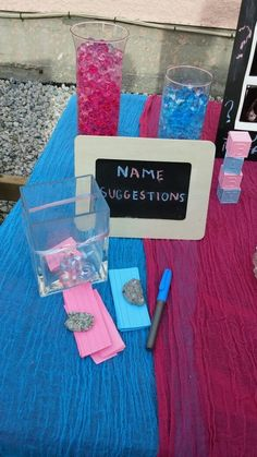 Pink and Blue decor ideas for a gender reveal party