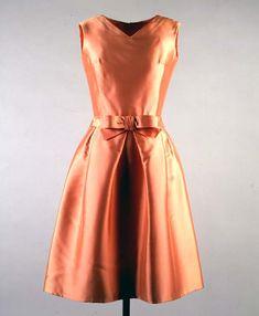 Apricot Silk Ziberline Dress-Jacqueline Kennedy, 1962-by Oleg Cassini