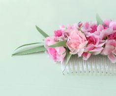 Millinery flower comb Vintage Floral hair comb Pink by whichgoose, $28.00