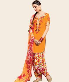 Buy Giselli Monteiro Orange Cotton Satin Punjabi Suit 73520 online at lowest price from huge collection of salwar kameez at…