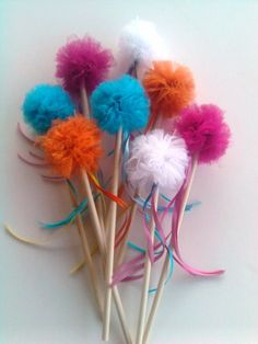 Flower girl tulle pom pom Fairy Wand / Princess Wand / One Wand by krazykatedesigns on Etsy, $5.00