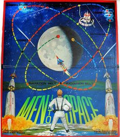 "I love vintage board games and space toys, so this 1960 Milton Bradley ""Men Into Space"" game was an exciting find. Space Games, Space Toys, Vandenberg Air Force Base, 70s Toys, Space Illustration, The Jetsons, Vintage Board Games, Futuristic City, Vintage Space"