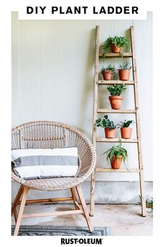 Go back to your DIY roots with this fun plant ladder made with Rust-Oleum Chalked Paint and Varathane. With just a few easy steps, your room or outdoor area will bloom with new life. Show off your succulents and your superb design skills with some wood stain and a coat of paint that will elevate an ordinary ladder to an elegant greenery display. #prideinthemaking #DIY #paint #wood #stain #plants #succulent #greenthumb #maker Plant Ladder, Diy Ladder, Diy Blanket Ladder, Ladder Decor, Garden Ladder, Ladder Shelves, Home Decor Hacks, Easy Home Decor, Back Patio