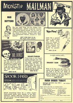 cryptofwrestling:  Vintage Monster Magazine ads.. (1960s)