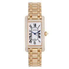 I LOVE this.   Cartier Yellow Gold and Diamond Tank Americaine Midsize Wristwatch.