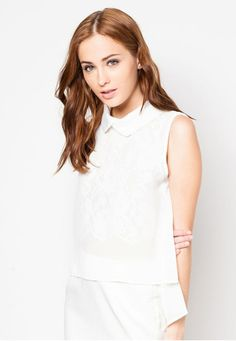 COLLARED LACE HIGH LOW TOP Price : RM49 #yoloveitmy #yoloveitmalaysia #top #white #sleeveless #zalora #lace #collared #pure #simple #plain #fashion