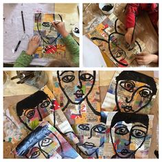 One of my all time favorite projects to date, from our portrait drawing unit last year. Proper proportion portraits on collaged paper (book paper and painted paper). Backgrounds were painted in a sheer coat of gesso. White spiral and leaf stamp in hair (ahhhh, details...). My little guys (5-6) made these.