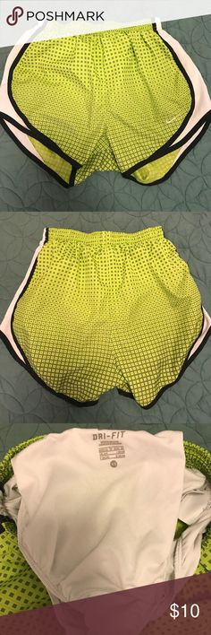 Nike Green Athletic Shorts Nike dri-fit athletic shorts. Patterned green. Great used condition. Nike Shorts
