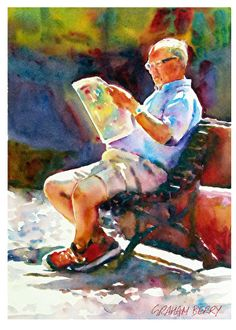 Man on a bench by Graham Berry, Watercolor, 14 x 10