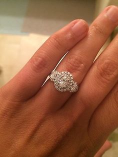 Vera wang love oval double halo with saphire under the middle stone at zales.com