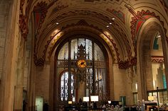 Guardian Building, Detroit - Monel gate separating main and banking lobbies
