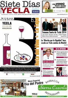 ya esta disponible la portada del periodico local de Siete Dias Yecla y a partir de mañana en su versión impresa en todasl las librerias y estaciones de servicio de nuestra localidad