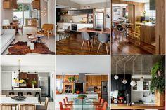 Com um toque de sala de estar, estas cozinhas integradas ganharam revestimentos e móveis estilosos para brilhar na área social da casa