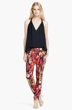 { Floral Ikat Print Silk Drawstring Pants }