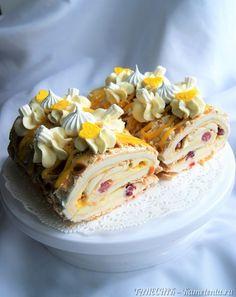 Carrot cake with caramelized nuts - HQ Recipes Fondant Flower Cake, Fondant Cakes, Cake Designs For Girl, Hot Fudge Cake, Best Cake Recipes, New Cake, Orange Recipes, Russian Recipes, Holiday Cakes
