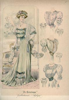 """Published in Dutch magazine """"De Gracieuse"""" on March 1 1907 vintage fashion plate 1900s Fashion, 19th Century Fashion, Edwardian Fashion, Vintage Fashion, Edwardian Clothing, Edwardian Dress, Edwardian Era, Vintage Clothing, Historical Costume"""
