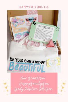 The HappyBeautyBox is a body positive box. All based around helping women who may be struggling with their body confidence as well as having a beautiful gift to go with it. Simple Quotes, Cute Quotes, Happy Quotes, Love My Body, Be Your Own Kind Of Beautiful, Motivational Blogs, Inspirational Quotes, Body Positive, Positive Quotes