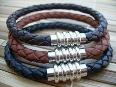 Leather Bracelet with Stainless Steel Magnetic Clasp | urbansurvivalgearjewelry - Jewelry on ArtFire