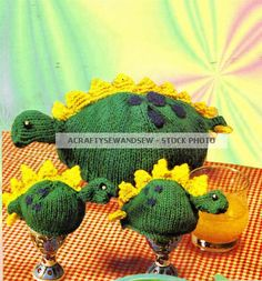 Vintage KNITTING PATTERN Dinosaur Tea Cosy Cozy & Egg Cosy TO KNIT   eBay