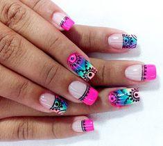 La Universidad de la Manicura: El arte de dibujar mandalas... en tus uñas French Nail Designs, Creative Nail Designs, Cute Nail Designs, Creative Nails, Cute Nails, Pretty Nails, Hollywood Nails, Natural Acrylic Nails, Mandala Nails