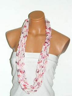 Pink  Cream Crochet infinity Scarf Necklace by WomanStyleStore, $15.00