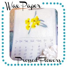 pressed flowers: place flowers/leaves between 2 sheets of wax paper, top with cloth/paper towel and iron on