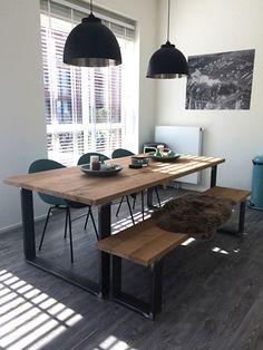 JORG: Industriële eiken tafel met stalen Chantal poot (181120130912RECHT) | Industriële tafels | 485EUR