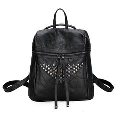 35f7bbfa9e18 Sheepskin Pattern Backpack Long Zipper Decoration Rivet Triangle Women  Backpacks PU School Bag Fashion Rock Hot