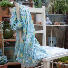 Sale Blue Tit Cotton Scarf by Susie Faulks Cotton Scarf, Cotton Bag, Blue Tit, Colorful Garden, Screen Printing, Kimono Top, Womens Fashion, Pretty, Scarves