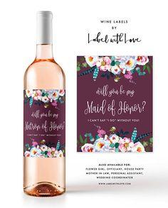 Bridesmaid Wine Label Bridesmaid Proposal Wine Label