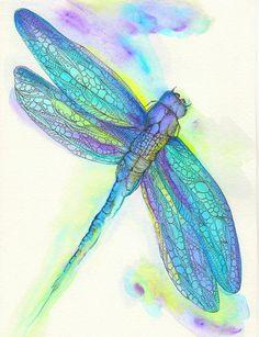 Dragonfly Art Print 8 x 10 Watercolor Original Art from Chubby Mermaid. Dragonfly Art, Dragonfly Tattoo, Art Aquarelle, Watercolor Paintings, Watercolours, Watercolor Paper, Watercolor Tattoo, Art Papillon, Pics Art