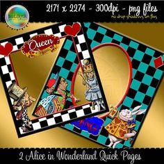 Alice in Wonderland Scrapbook Quick Pages Frames by Beauladigitals