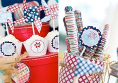 Lots of great ideas.  Love the pinwheels & red/white/blue chocolate-covered pretzel rods.