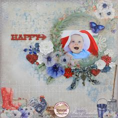Mixed Media Baby Layout Tutorial: Scraps of Elegance July Country Chic kit 2017 Design, Club Design, Baby Scrapbook, Scrapbook Pages, Paper Video, Mixed Media Scrapbooking, July 4th, Minis, Darkness