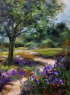 Dallas Arboretum Blue iris Path by Nancy Medina Palette Knife/Oil ~ 16 x 12