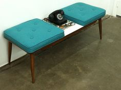 Mid Century Bench/Table Teal Blue Cushions by ljindustries on Etsy, $225.00