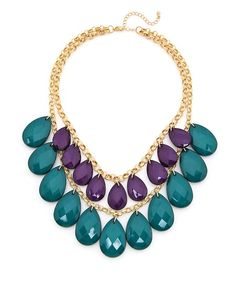 Cool Contrast Beaded Necklace - Purple and Emerald @ ShopLately