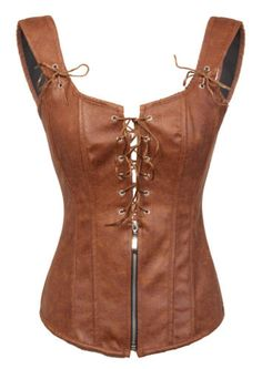 Black-and-Brown-Faux-Leather-Plunge-Bustier-Corset-Top-S-M-L-XL-XXL