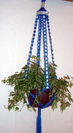 Unique Beautiful Macrame Plant Hanger With Rhinestone Bling Handcrafted 45u2026