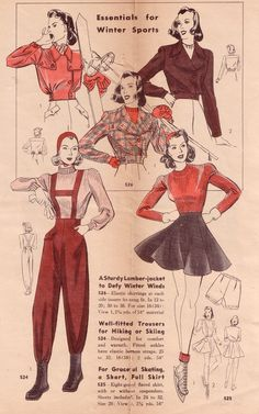 A wonderful array of 1940s winter sportswear. #vinage #winter #sports #skiing #skating