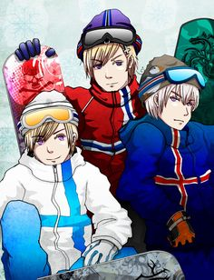 APH: Snowboarding by Jorael.deviantart.com on @deviantART - Tino, Sigurd (head-canon name for Norway), and Eiríkur (head-canon name for Iceland)