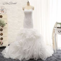 2018 New Arrival Wedding Dresses Robe de Mariee Mermaid Spaghetti Strapless  Ruffles Bridal Gown Vestido de f28ff5ee1076