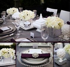 I like this idea--gray or silver table cloth, silver cake stands, deep purple satin napkins