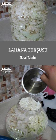 Lahana Turşusu Nasıl Yapılır Sauerkraut, Mini Cheesecakes, Middle Eastern Recipes, Turkish Recipes, Pickles, Oatmeal, Deserts, Food And Drink, Pudding