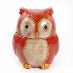 "Gibson Home Cookie Hoot 7.5"" Owl Cookie Jar Reactive Stoneware"