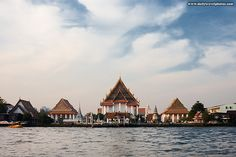 Wat Kanlayannamit, one of several Buddhist temples located on the banks of the Chao Phraya river.  Bangkok, Thailand