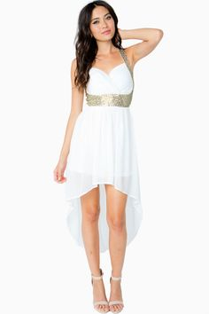 Sparkling gold-toned trimming adds a touch of glam to this dramatic hi lo dress. Padded sweetheart bust. Sleeveless. Crisscross back with a concealed zip and hook-eye closure. Full lining. Woven chiffon.