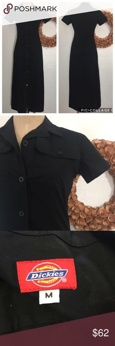 """Dickies Black Grunge Goth Retro Pinup long Dress All items photographed immediately prior to packing for shipping   18"""" underarm to underarm  15.5"""" across waist  19"""" across hips 51"""" top to bottom    Expect to receive a well-packed item in upcycled material Dickies Dresses Maxi"""